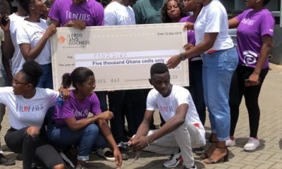 John Dumelo presents GHC 5,000 to snail packaging startup on University of Ghana campus