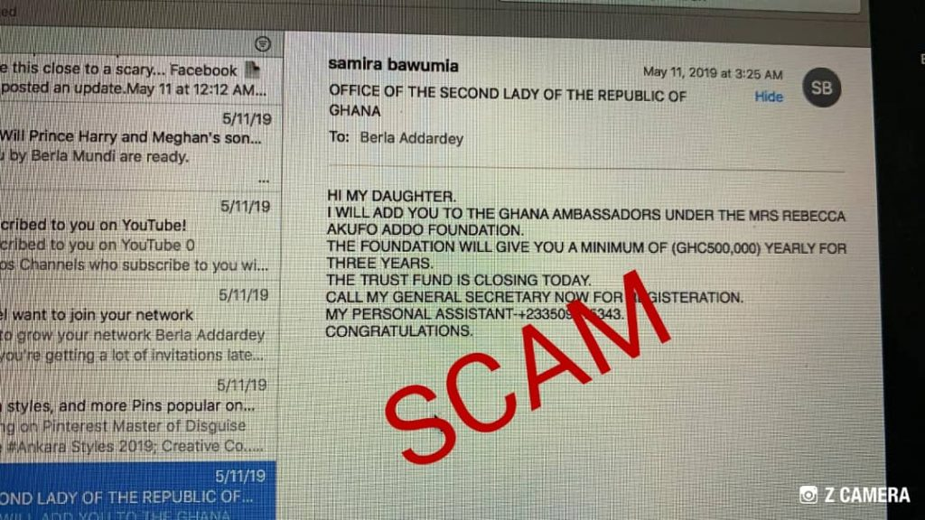 Office of Samira Bawumia issues disclaimer on UN Ambassadors scam email