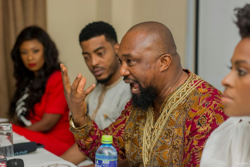 Osita Oparaugo with Victoria Michaels, James Gardiner and Selly Galley, at press soiree in Accra