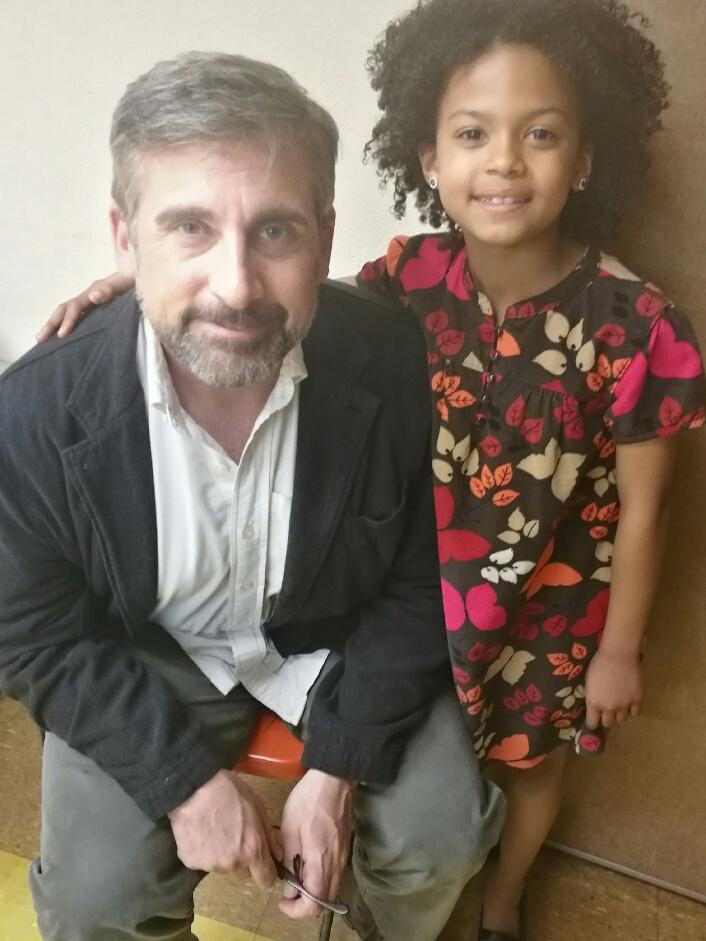 "Mandeiya with Steve Carell on set of ""Beautiful Boy"""