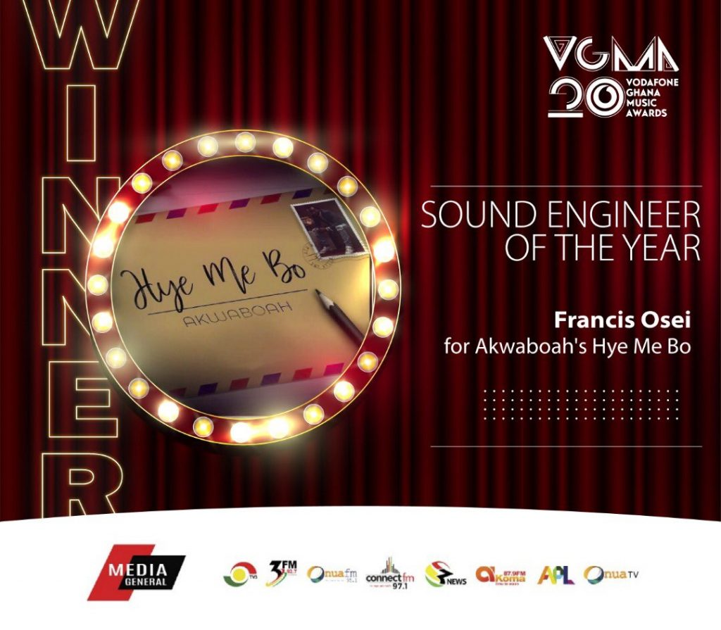 #VGMA20: Francis Osei wins 'Sound Engineer Of The Year'.
