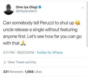 Peruzzi assaults Nigerian influencer Pamilerin over 'troll' tweets