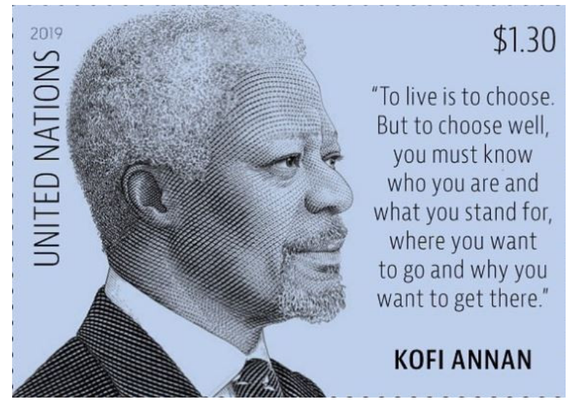 United Nations issues new stamp to pay tribute to late Kofi Annan.
