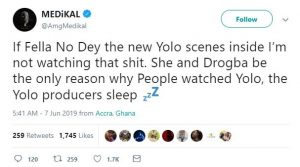 I am not watching the new YOLO seasons if Fella Makafui is not in them- Medikal