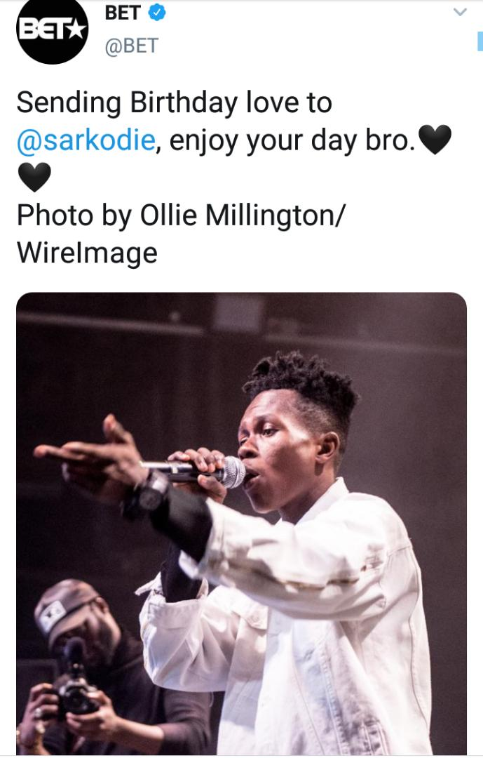 Photo: BET mistakes Strongman Burner's photo as Sarkodie in birthday wish