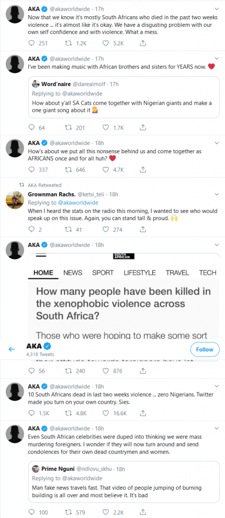 #XenophobicAttacks: 10 South Africans dead in last two weeks violence - South African rapper AKA in new rants