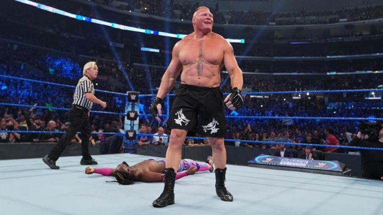 Brock Lesnar destroyed Kofi Kingston in a matter of seconds during a much-anticipated WWE Championship match. CREDIT: WWE.COM