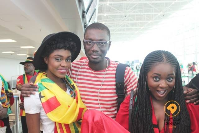 Ameyaw Debrah with Becca and Jackie Appiah