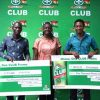 Ewurafua Addo-Atuah, Marketing Head of Accra Brewery Limited (Middle) with the winners: Emmanuel Ayeletige (left) and Wisdom Kugbadjor (right)
