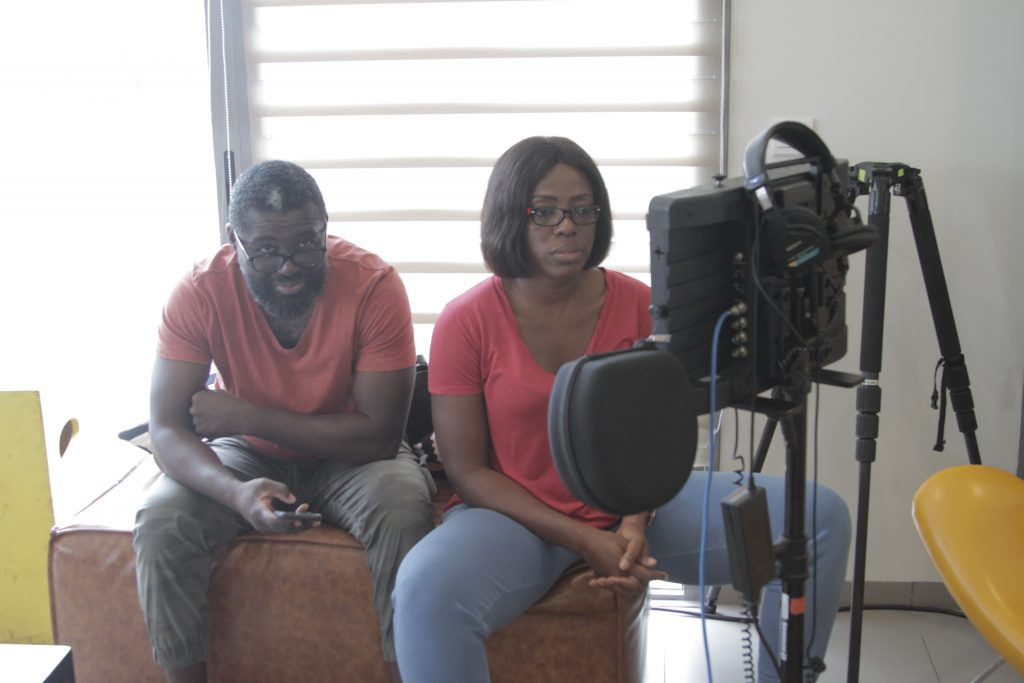 Ken Attoh and Shirley Frimpong Manso on set