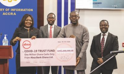 Officials of Absa Bank Ghana making the presentation to the COVID19 Fund