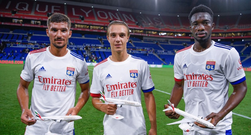 Emirates and Olympique Lyonnais (OL) revealed the club's new jerseys for the 20/21 season during a friendly match against the Glasgow Rangers F.C. in Groupama Stadium