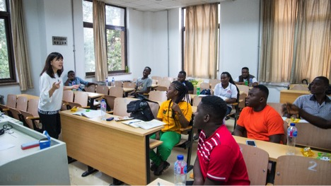 Some 2019 Ghana Seeds for the Future Beneficiaries in during one of their class sessions