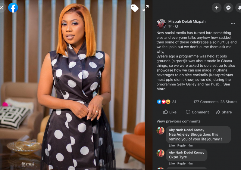 A Ghanaian female Facebook user who goes by the name Mizpah Delali Mizpah has called out Selly Galley for cursing a troll (Henewaa Piesie) who called her horror and barren.