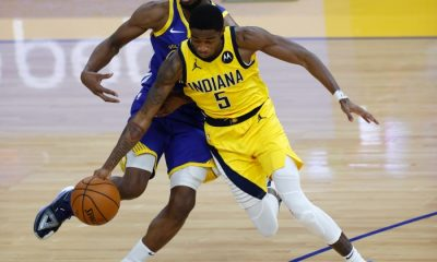 Indiana Pacers guard Edmond Sumner (R) steals the ball away from Golden State Warriors forward Andrew Wiggins (L) during the second half of the NBA basketball game between the Golden State Warriors and the Indiana Pacers at Chase Center in San Francisco, California, USA, 12 January 2021. EPA/JOHN G. MABANGLO SHUTTERSTOCK OUT