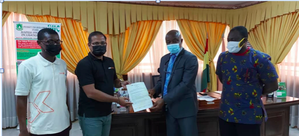 From left to right(Prince Charles Boateng-HeadTamale Centre, Sujith JayaprakashDirector at OpenLabs, Vice-Chancellor UDS(Gabriel Ayum Teye), Acting Director of International Relations and Advancement, UDS International Relations & Advancement (Dr. Courage K. S. Saba)